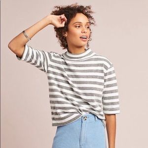 Anthropologie T.la Striped Terry Mock Turtleneck L